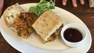 Shiitake & Tofu Scramble With Crispy Sweet Potatoes & Roasted Garlic Aioli