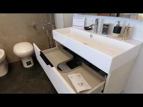 Mobile da bagno 95 cm. chiaro con colonna - MADE IN ITALY