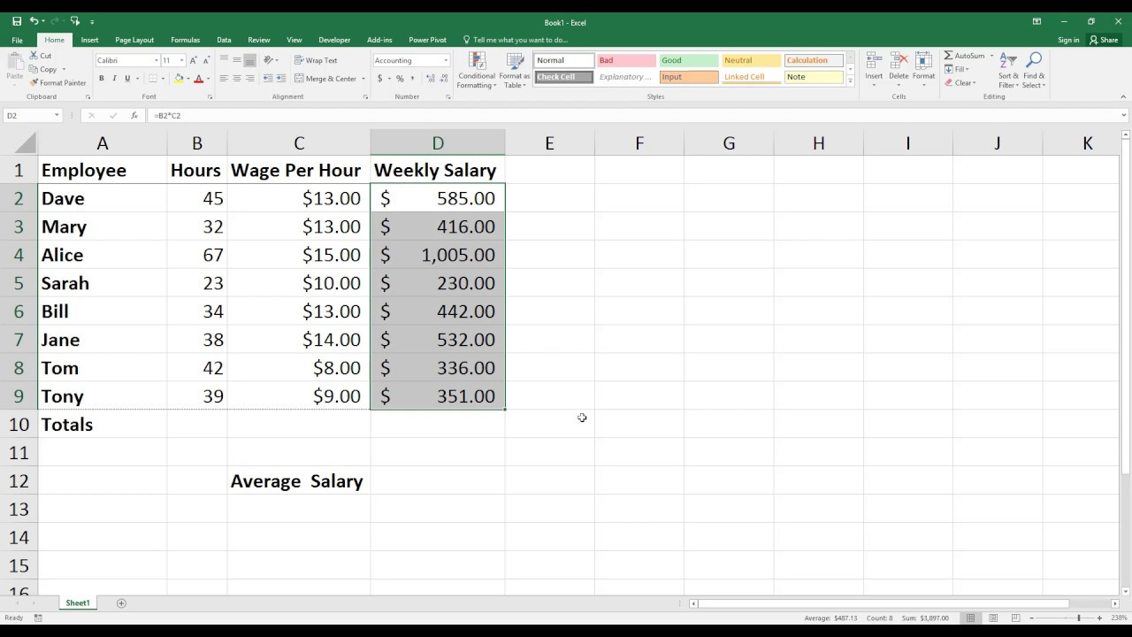 How to Calculate Weekly Salary in Excel. [HD]