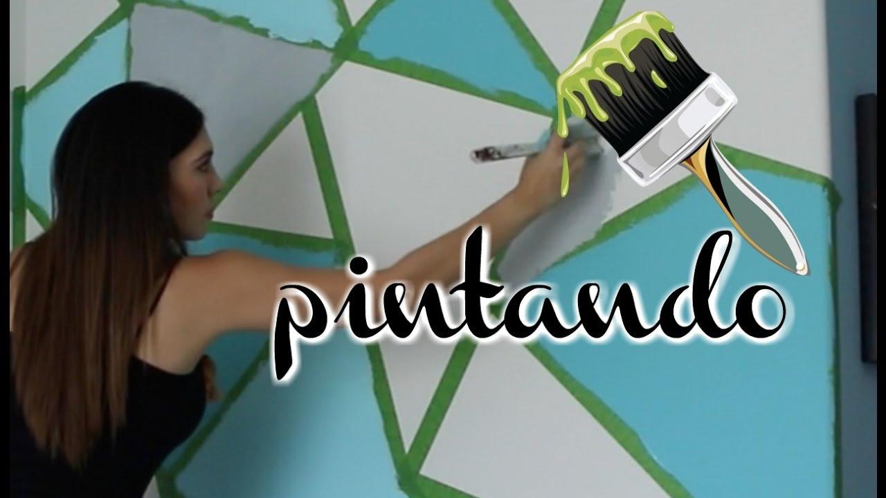 PINTANDODECORANDO PARED EN TRINGULOS  YouTube