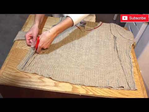 How to Make a Fitted Dress from Sweater Transformation Without Pattern-DIY Dress-Upcycle Clothing
