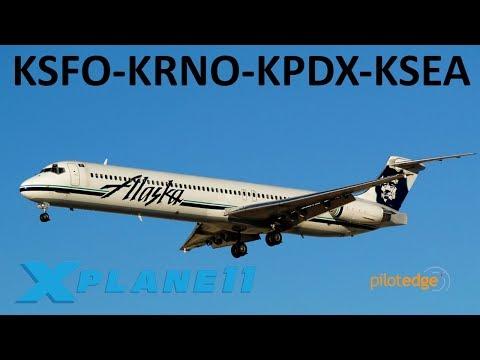 X-Plane 11 | Back in the MADDOG! | A320 MD-80 | PilotEdge | San Fran, Reno, Portland!!