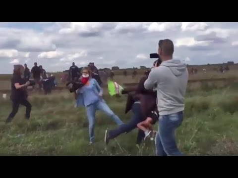 Syrian refugee tripped by Hungarian camerawoman to be welcomed in Spain