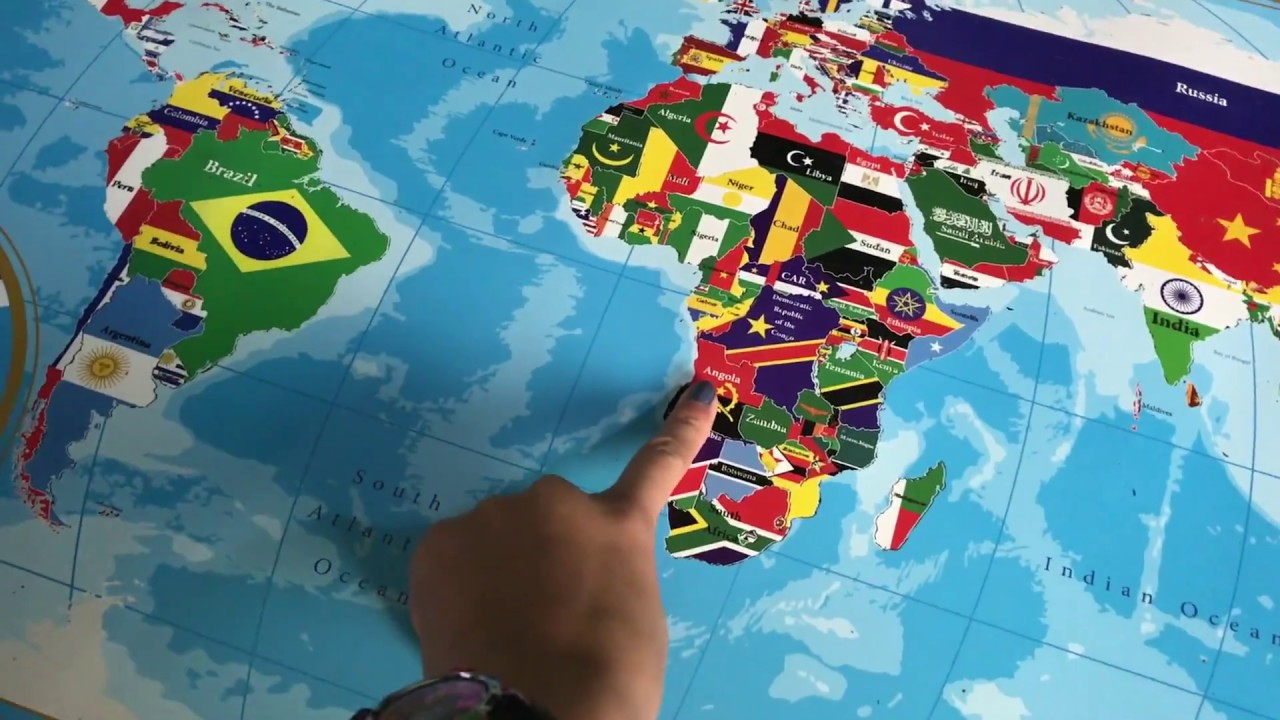 scratch off world map with flags poster gogounique youtube. Black Bedroom Furniture Sets. Home Design Ideas