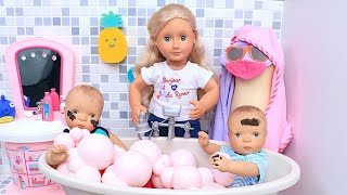 Petitcollin Twin Baby Dolls Bath Time and Dress up by Play Toys!
