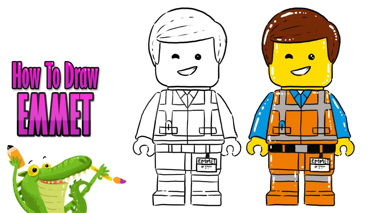 How To Draw and Coloring A cute Emmet Lego easy step by ...