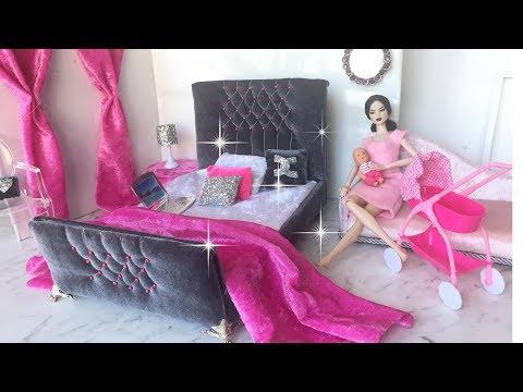 DIY BARBIE Dolls PRINCESS bed || Super CUTE DOLLS HOUSE Furniture.