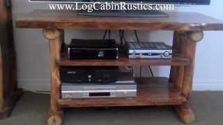 Rustic Tv Stand - Aspen Log Wide Screen Entertainment Center By Mountain Woods