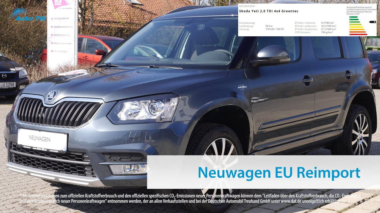 skoda yeti 2 0 tdi greentec laurin klement neuwagen eu reimport m nchen bei auto till youtube. Black Bedroom Furniture Sets. Home Design Ideas