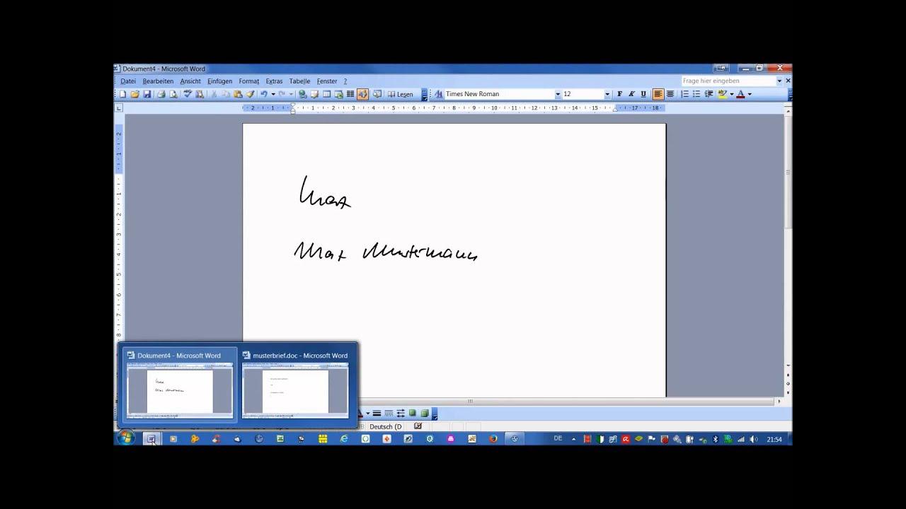 Handschriftliche Unterschrift in Word einfügen - YouTube
