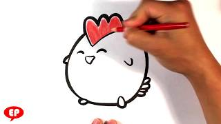 How to Draw a Cute Chicken - Easy Pictures to Draw Now