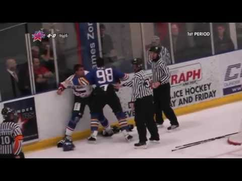 Matt Suderman vs Jozef Sladok EIHL fight 7-11-10