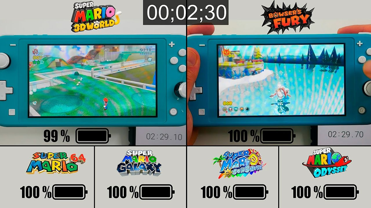 Battery Life of 3D Mario Games Part 3 | Mario 3D World + Bowsers Fury on Nintendo Switch LITE