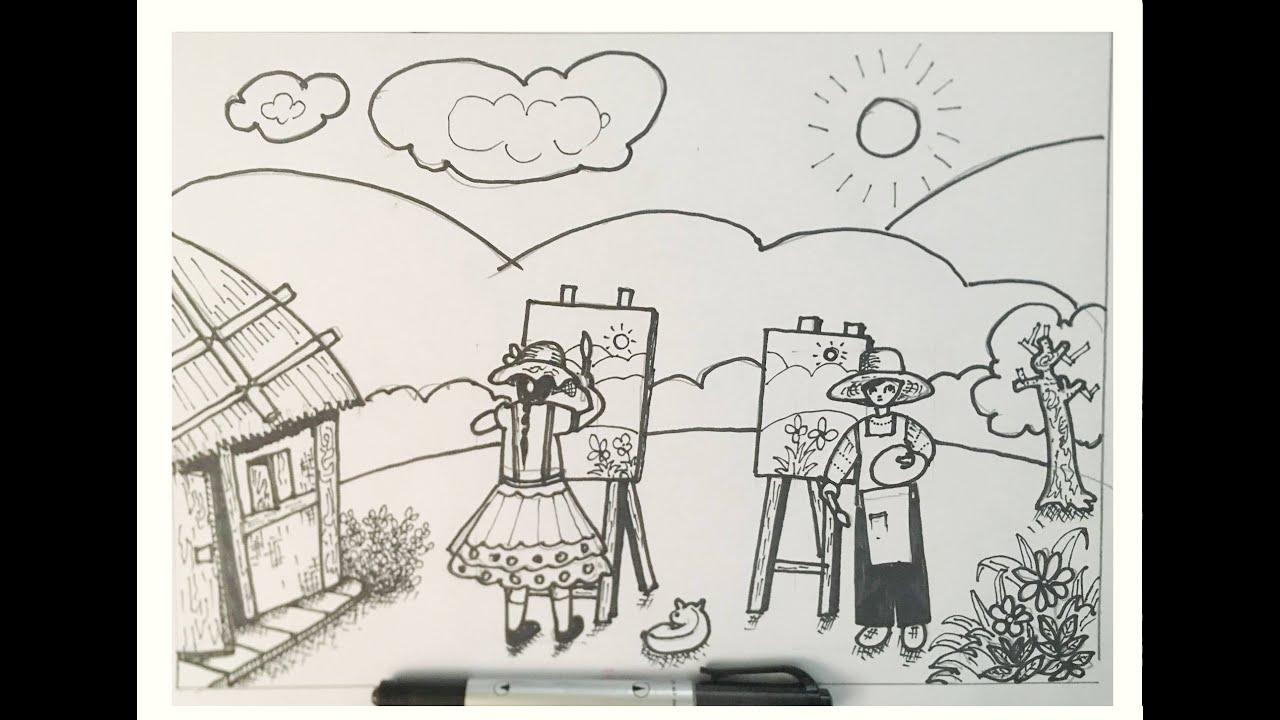 Mĩ Thuật 8 bài 24   Vẽ tranh đề ước mơ của em   Hướng dẫn chi tiết vẽ tranh   #Mẫu_04   @Center ART