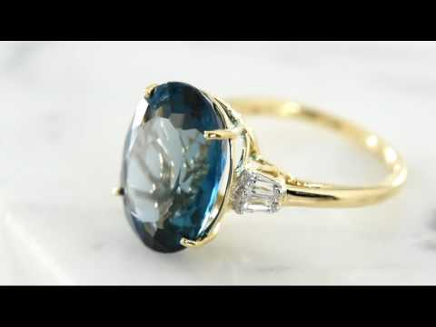 London Blue Topaz & Baguette Sapphire Engagement Ring
