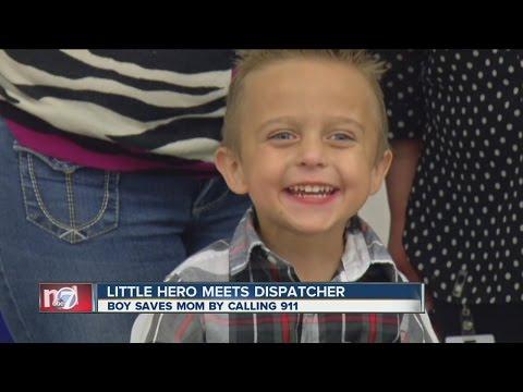 Little hero meets 911 dispatcher he called for help