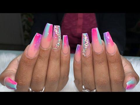 Color Acrylic Ombré Nails | Acrylic Nails Tutorial | Ombré Nails