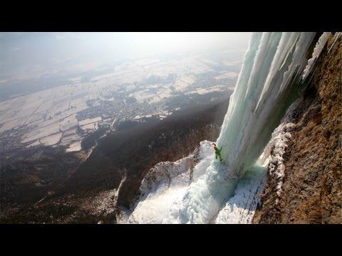 Extreme ice climbing - Cascade de l'Oule, France (V+, 5+)