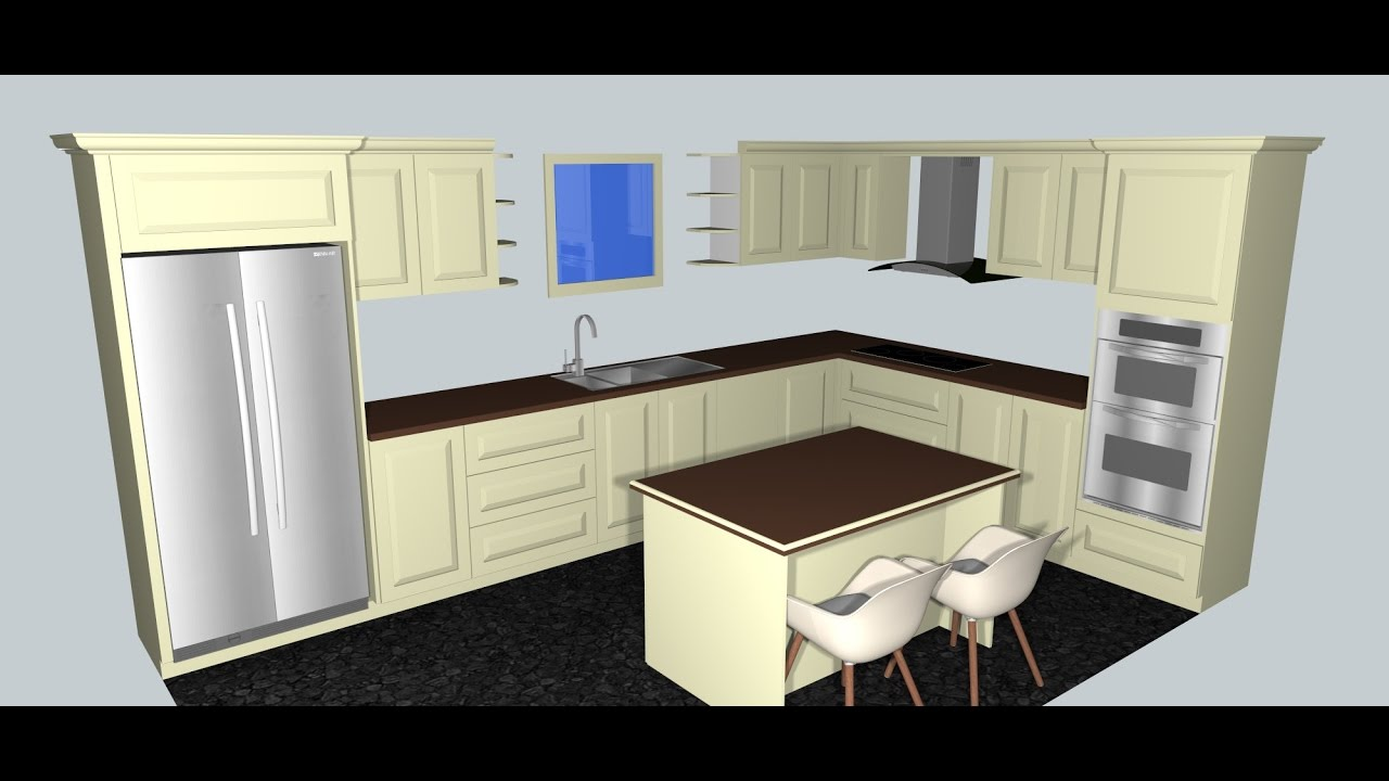 Kitchen Design In Sketchup 1 Youtube