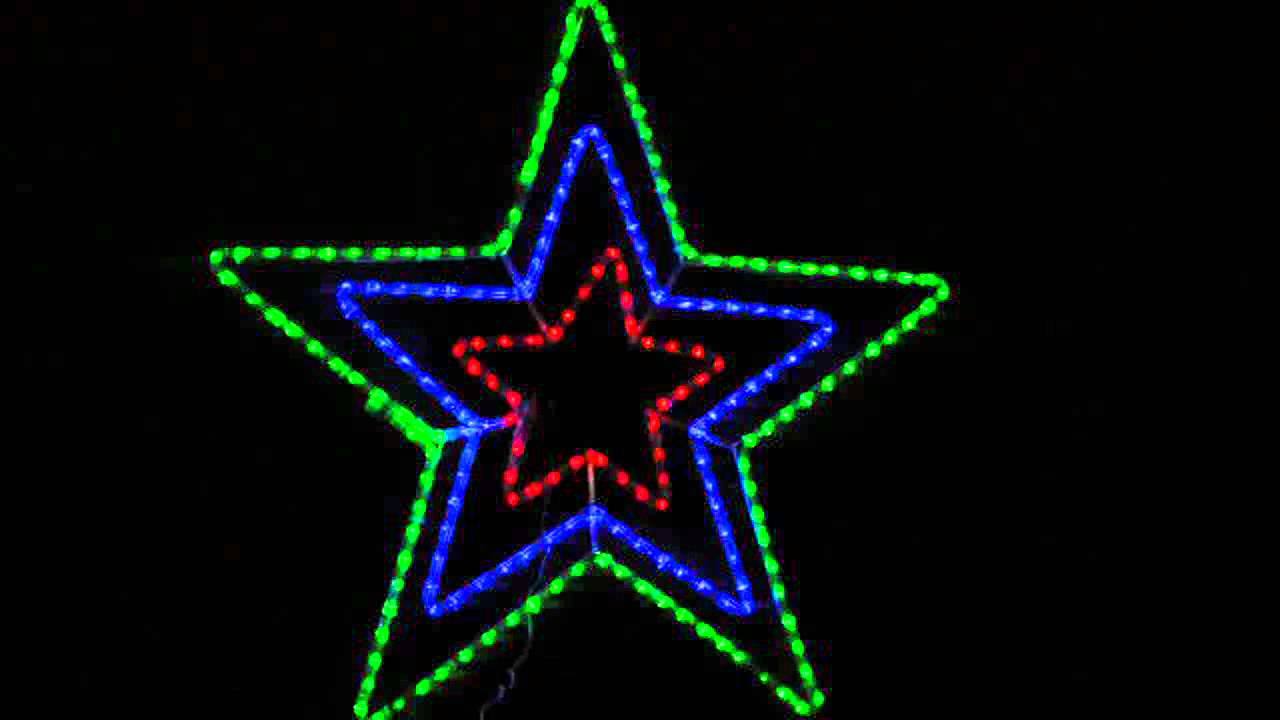 Solar Led Star Rope Light Christmas Display R G B Youtube