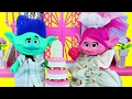 TROLLS WEDDING Poppy & Branch Get Married! Poppy Bride Dress Up & Makeover Doll Parody DisneyCarToys