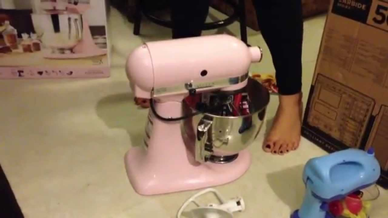 KitchenAid stand mixer unboxing (pink) - YouTube