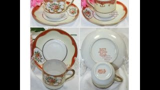Occupied Japan, Demitasse Tea Cup Saucer Rose Handpainted
