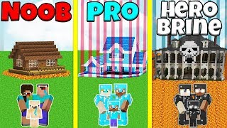 Minecraft Battle: NOOB vs PRO vs HEROBRINE: SAFEST FAMILY HOUSE BUILD CHALLENGE / Animation