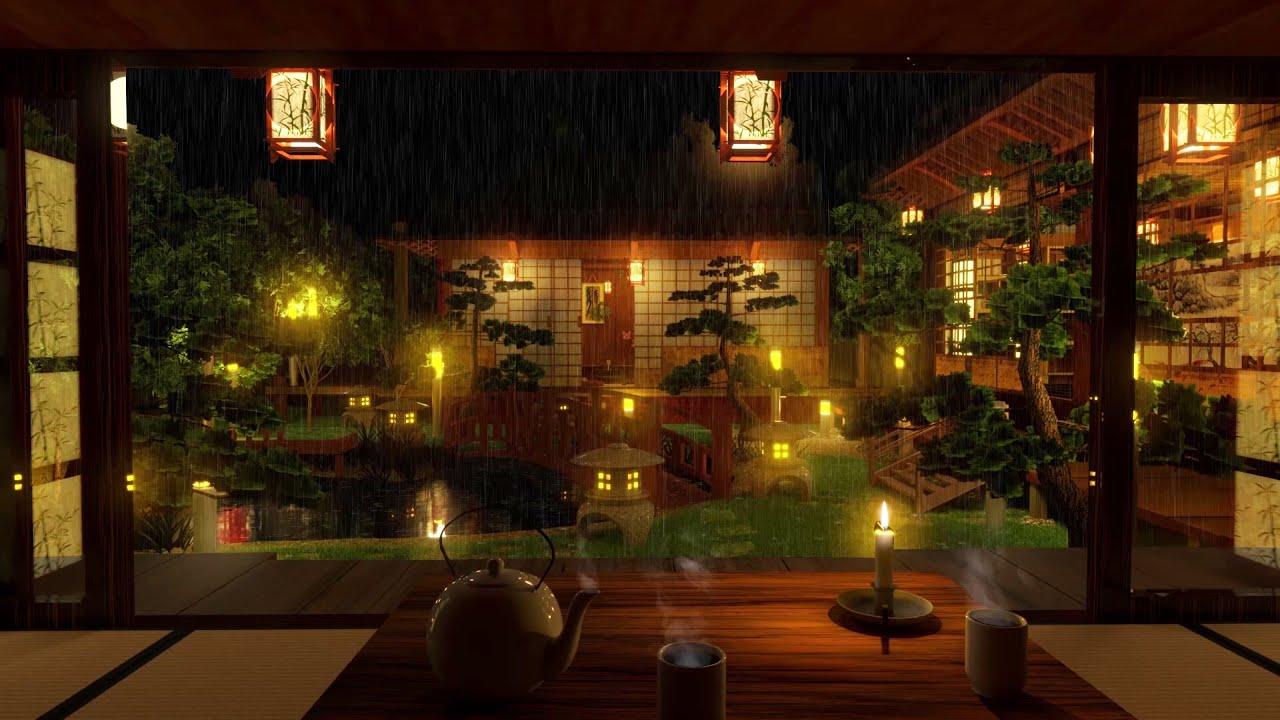Rainy Japanese Houses and Garden | Relaxation and Sleep | Rain Sounds