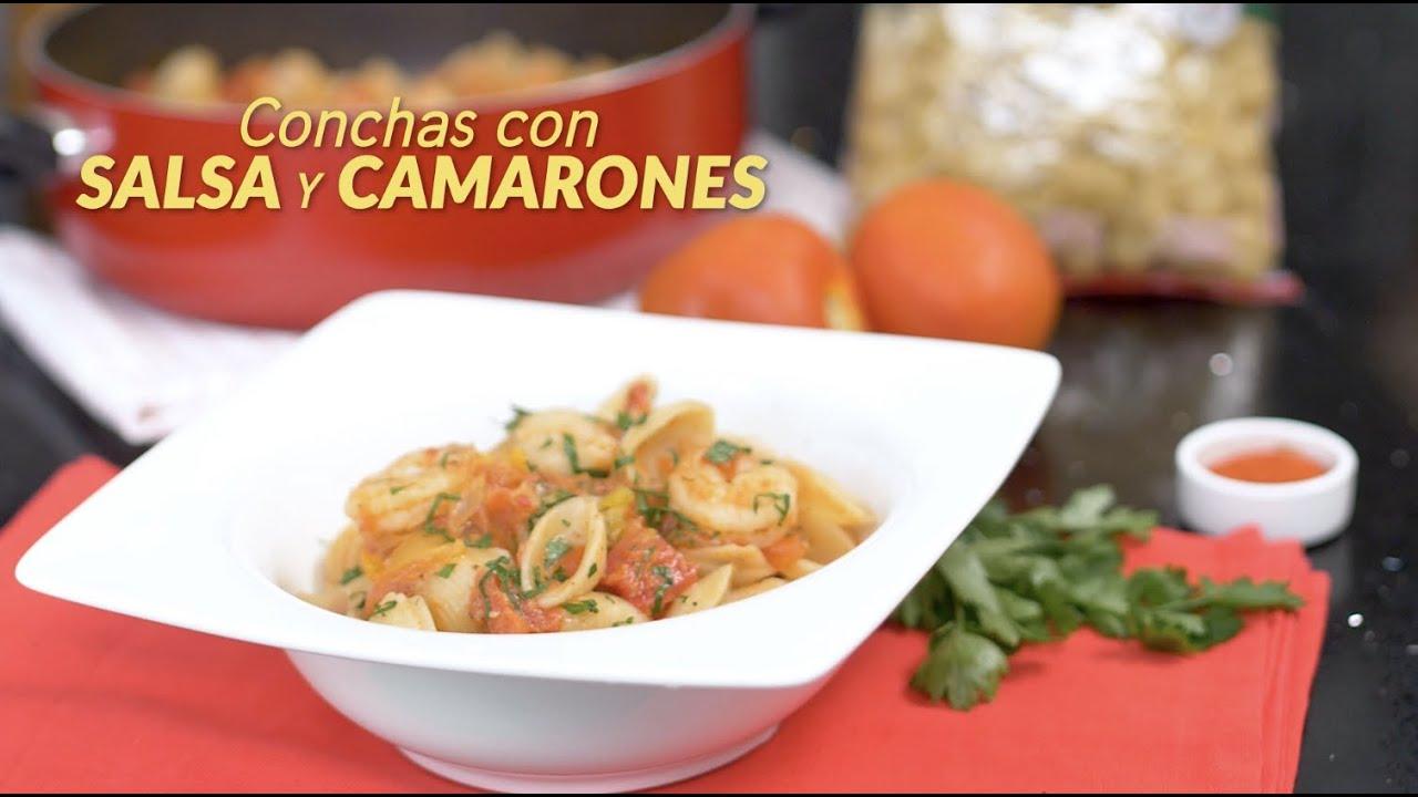 Conchas con salsa de camarones