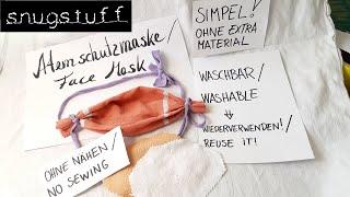 Waschbare Atemschutzmaske / Mundschutz ohne Nähen! So geht's ...
