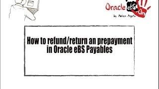 /(EBS) Oracle Borçlar AP bir ön Ödeme Geri İadesi için nasıl?