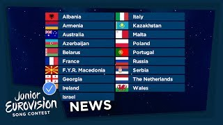 A record number of 19 countries will travel to Minsk for Junior Eurovision 2018