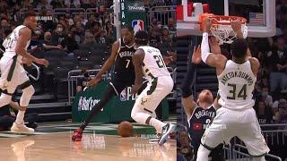 Jrue Holiday nutmegging Kevin Durant then Giannis dunks on Blake Griffin 😀 Nets vs Bucks Game 4