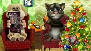 Talking Tom and Ben News this looks funny We wish you a Merry Christmas