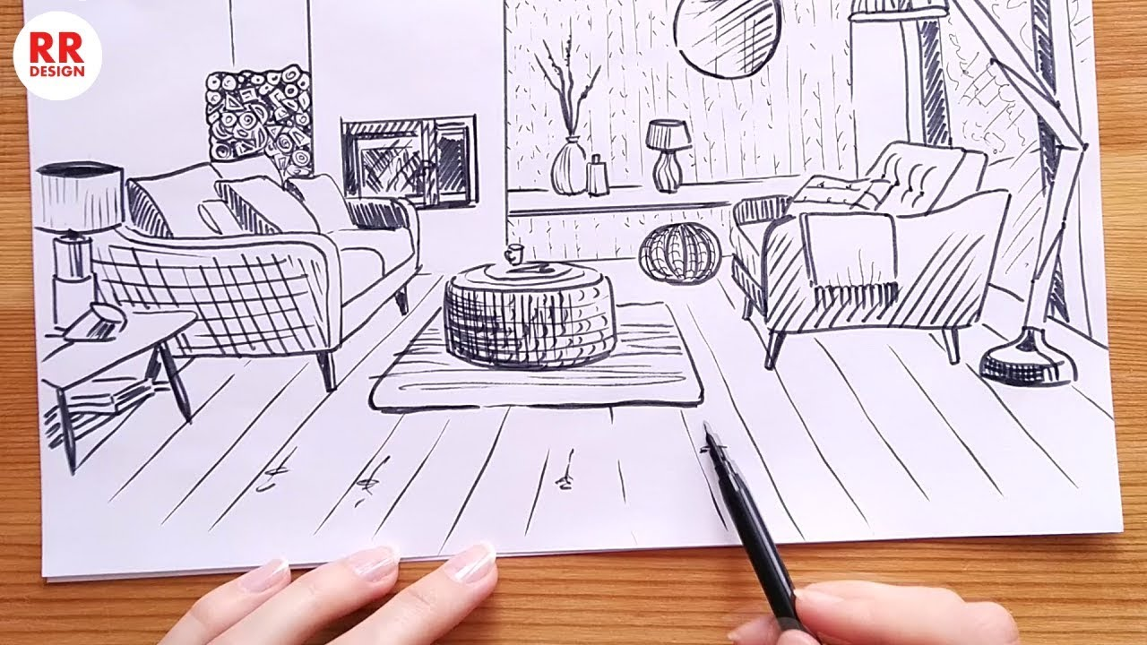 How to Draw a Cozy Living Room 9.9 m9 (Sketch) Design Ideas
