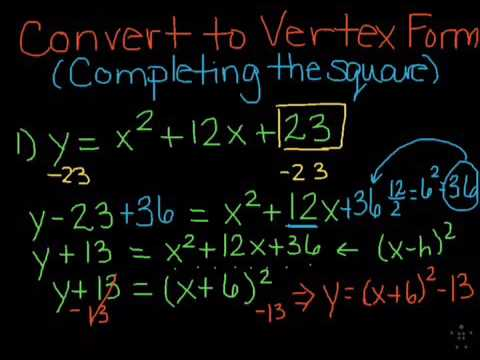 Converting From Standard To Vertex Form By Completing The Square