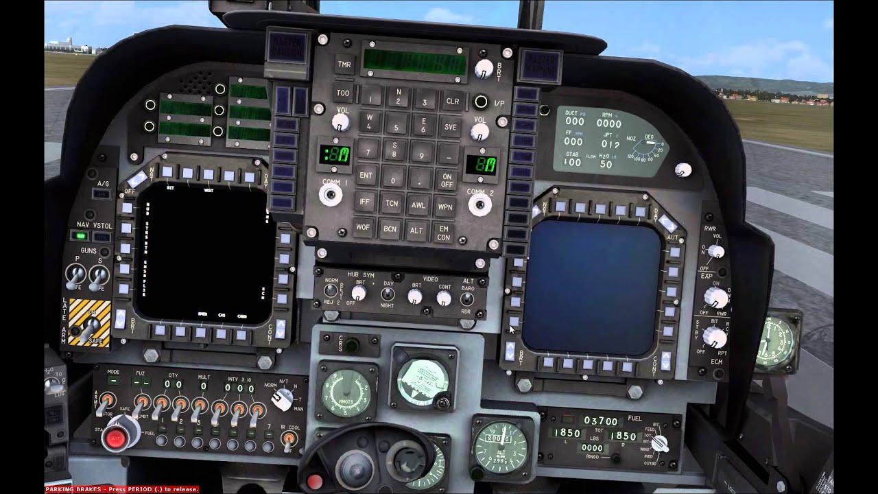 FSX Harrier GR 7/9 Start Up (Check list) with VTOL