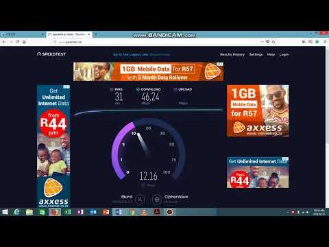 Top speed internet south Africa Rain LTE A Speed test