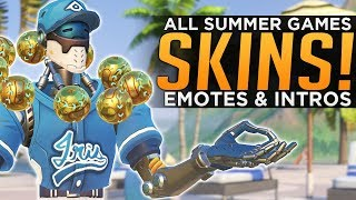 Overwatch: ALL Summer Games 2018 SKINS, Voice Lines & Highlight Intros!
