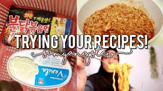 trying my subscribers recipes!(samyang stew)  cook with me!  indonesia