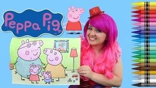 Coloring Peppa Pig JUMBO Coloring Page Crayola Crayons | COLORING WITH KiMMi THE CLOWN