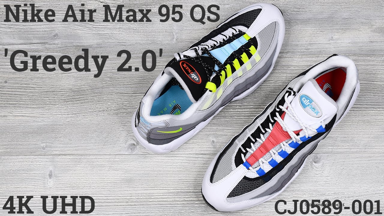 [4K] Nike Air Max 95 QS 'Greedy 2.0' CJ0589-001 (2020) An Unboxing and Detailed Look! Black Volt Red