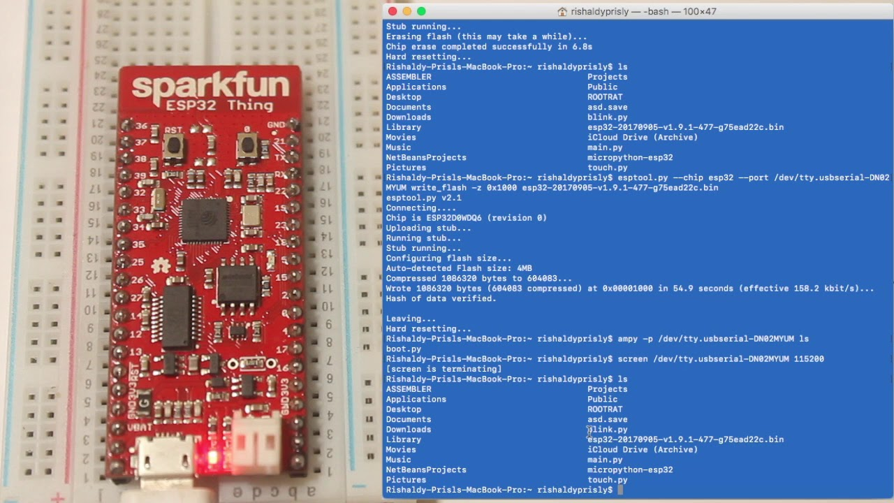 How To Flash Micropython on ESP32 SPARKFUN