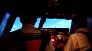 BA flight crew test the Concorde Simulator at Brooklands Museum - Landing