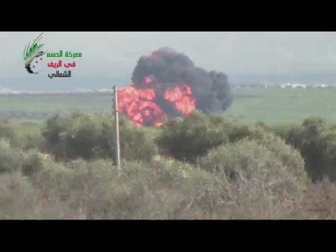 Free Syrian Army gun down helicopter