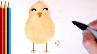 How to Draw Chick / Baby Chicken (Super Easy) - Step by Step Tutorial