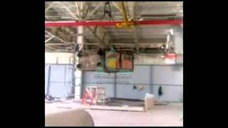 Кран мостовой подвесной двухпролетный, испытание грузом(Видео предоставлено группой компаний