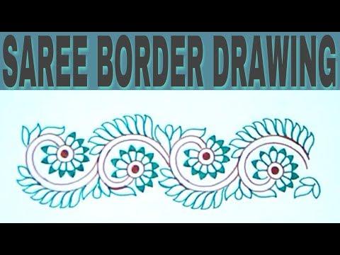 Machine Embroidery Tutorial Simple Pencil Sketchs Saree Border