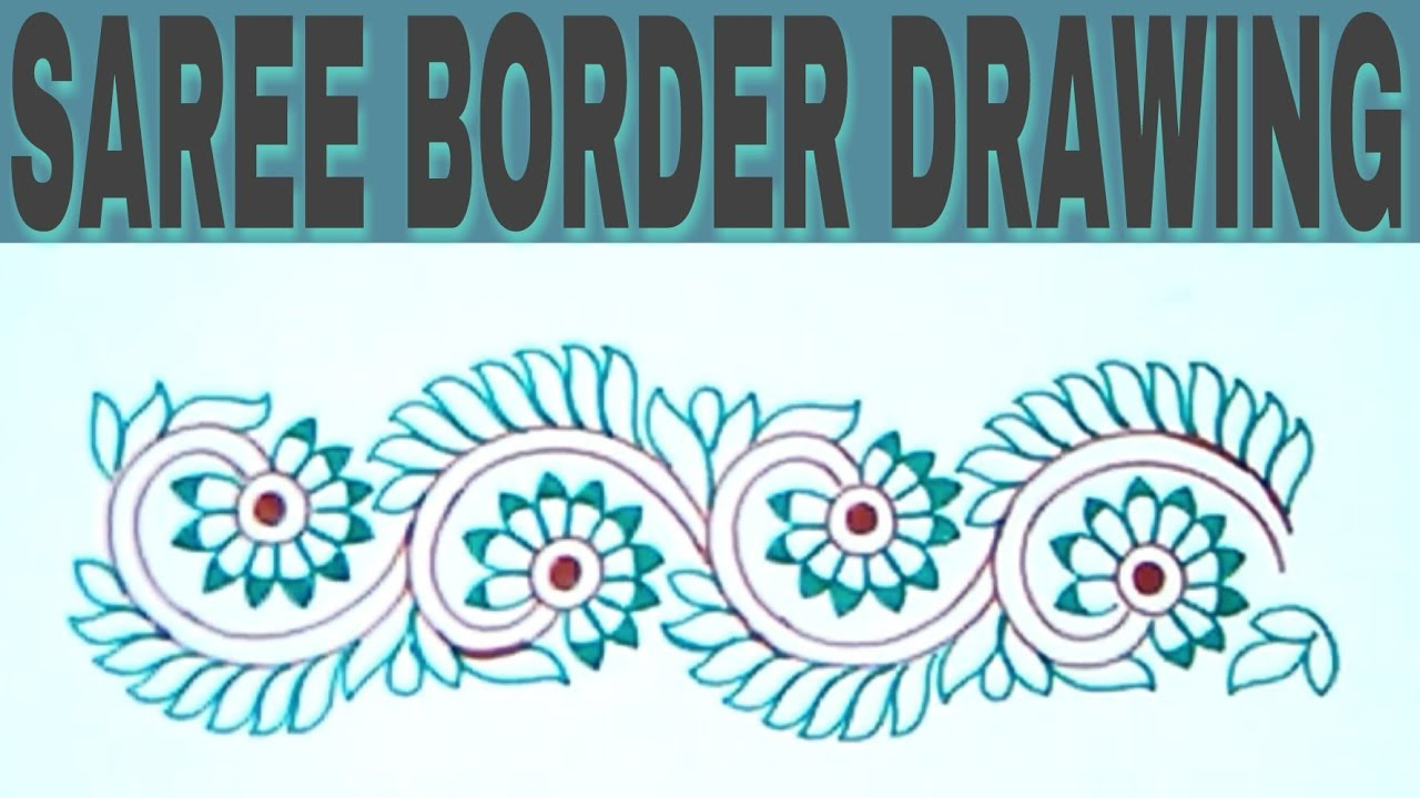 Machine Embroidery Tutorial Simple Pencil Sketchs Saree Border Design On Tracing Paper